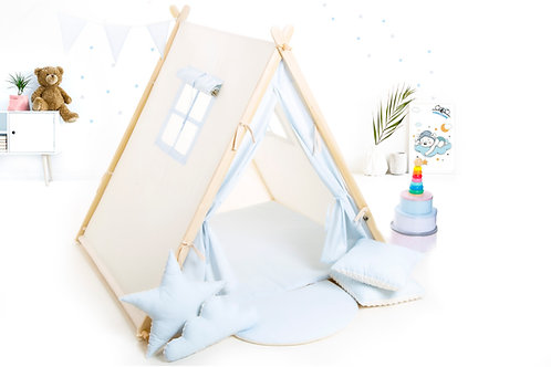 Baby blue teepee tent for children playhouse for kids, Montessori toy,nursery decor, The best birthday gift, grey kids tipi