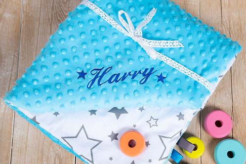 Blue starsblanket, gift for baby shower, baby gift, pink minky blanket, personalised gift, personalised blanket, handmade bl