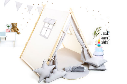 Greyteepee tent for children by Cuddleosme, Montessori toy,kids teepee with play mat in the UK, wigwam room decoration, boy