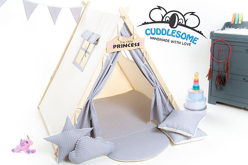 Grey scales teepee tent playhouse for kids, nursery decor, The best birthday gift, grey kids tipi tent, kids teepee with play