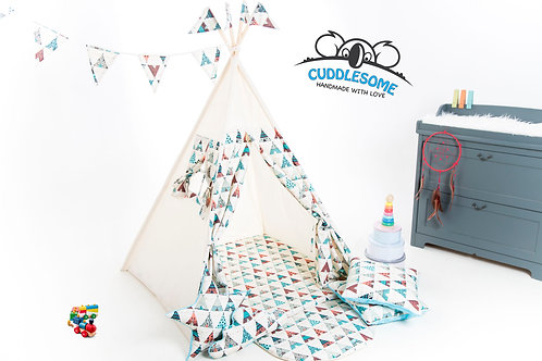 Teepee tent for children with play mat by Cuddlesome/ kids tipi/ garden wigwam