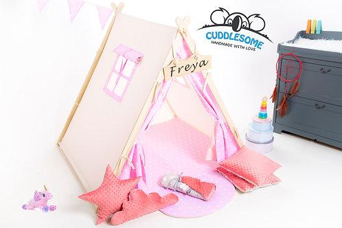 Pink stars teepee tent, kids teepee with play mat, wigwam
