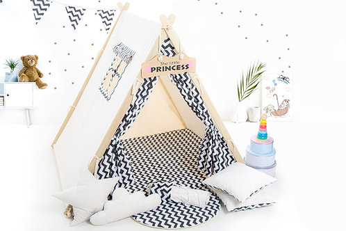 Zigzag teepee tent playhouse, Montessori toy, Christmas gift, birthday gift, garden playhouse, hideaway tent, kids tipi with