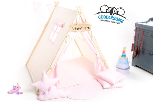 pink teepee tent with accessories set, tipi kids, girls tipi