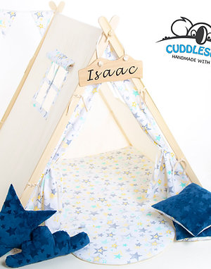 Yellow and Grey stars teepee tent for kids by Cuddlesome
