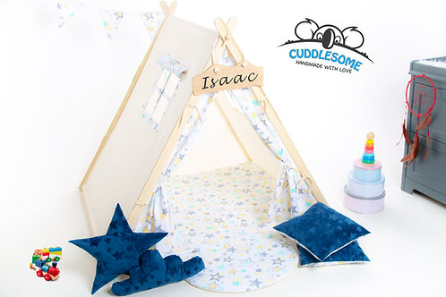 teepee tent for kids in Yellow and Grey stars pattern