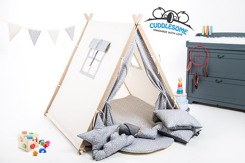 Grey stars teepee ten for children by Cuddleosme, kids teepee with play mat, wigwam room decoration