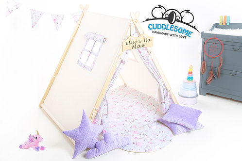 Pink ballerina  teepee tent, kids tipi with play mat, lilac minky accesories