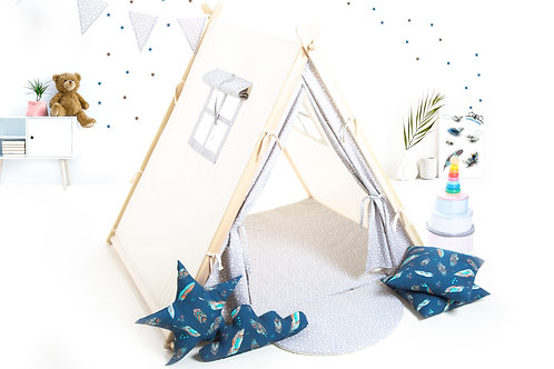 Grey stars teepee ten for children by Cuddleosme, kids teepee with play mat in the UK, wigwam room decoration, boys fort teep