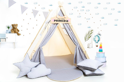 Grey scalesteepee tent playhouse for kids, nursery decor, Montessori toy, tipi with play mat, grey kids tipi tent,
