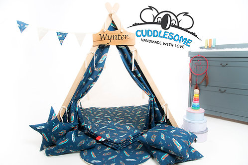 Navy feathers teepee tent playhouse for kids, nursery decor, The best birthday gift