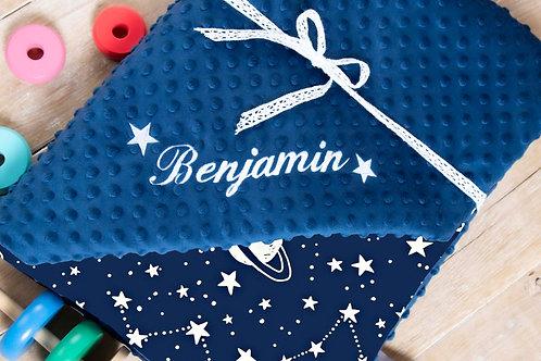 Navy galactic personalisedbaby blanket, gift for baby shower, baby gift, pink minky blanket, personalised gift,