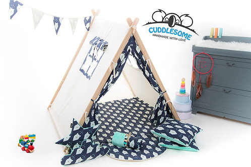 Navy bearsteepee tent playhouse for kids, nursery decor, The best birthday gift, grey kids tipi tent, kids teepee with play