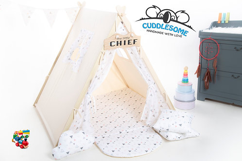 teepee tent for children made with Natural linen lace fabric, birthday gift, Montessori toy, cream tipi playhouse, geometric