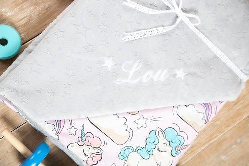 Pink unicorns baby blanket, gift for baby shower, baby gift, pink minky blanket, personalised gift, personalised blanket, han