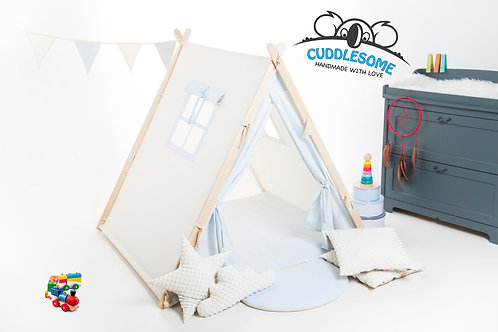 Baby blue teepee tent playhouse for kids, nursery decor, The best birthday gift, grey kids tipi tent, kids teepee with play m