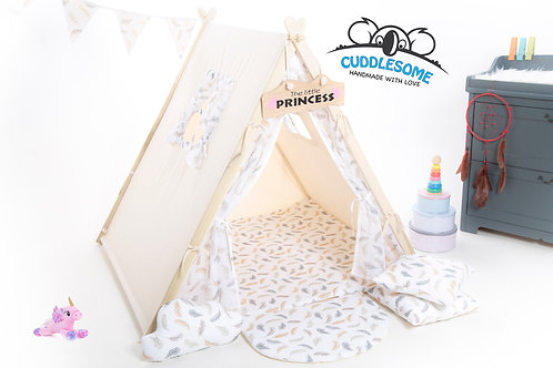 feathers lace teepee tent for children, organic lace linen fabric, Scandinavian teepee