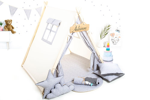 Grey stars teepee ten for children, kids teepee with play mat, wigwam room decoration, boys fort teepee