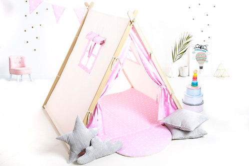 Pink stars teepee ten for children by Cuddleosme, girl teepee, kids teepee with play mat in the UK, wigwam room decoration