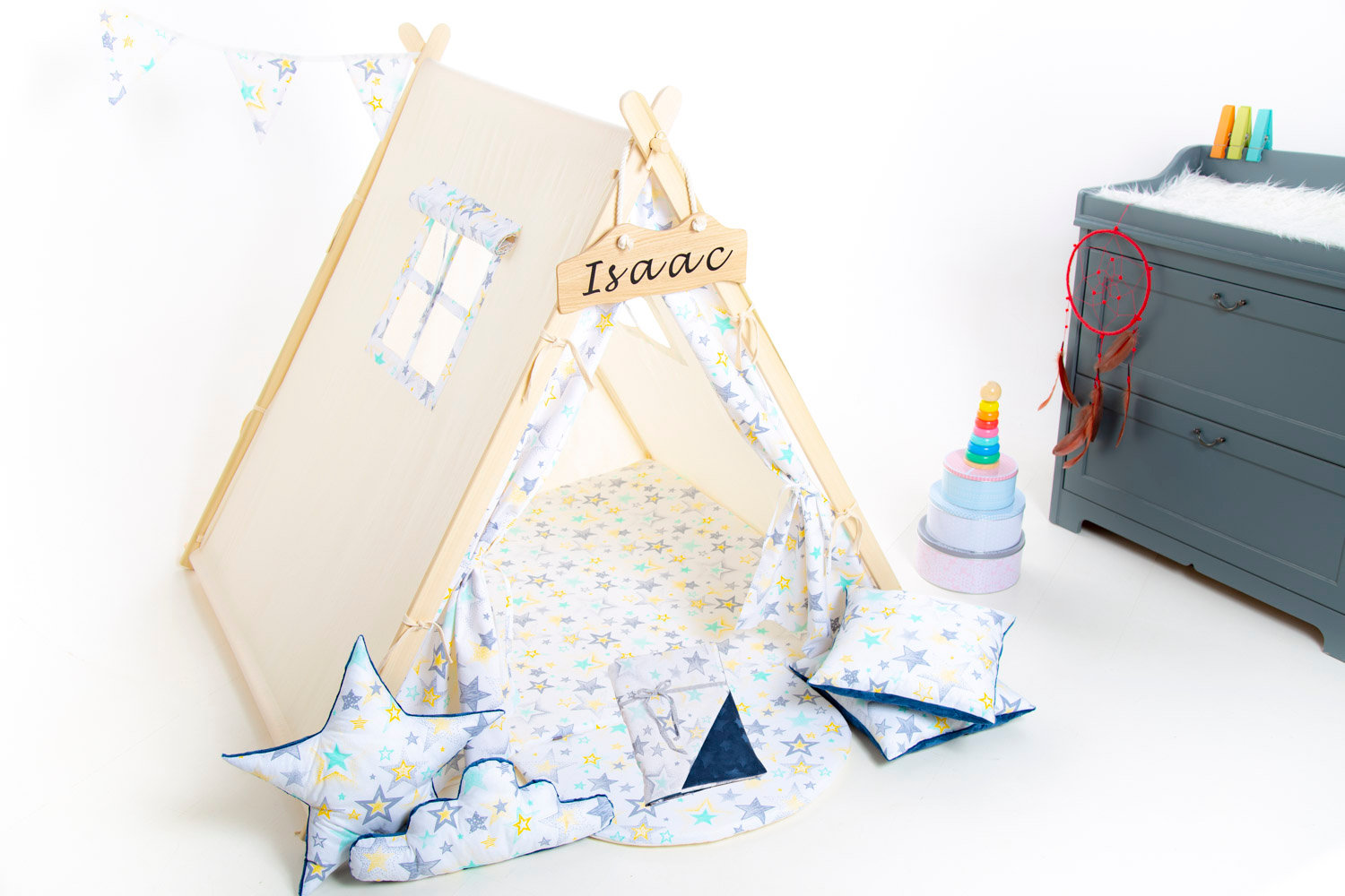 Grey stars teepee tent for children by Cuddlesome