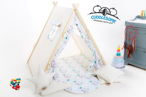 Baby elephants teepee tent playhouse for kids, nursery decor, The best birthday gift, grey kids tipi tent, kids teepee with p