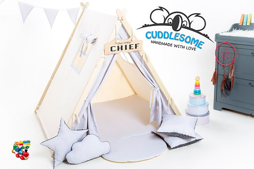 White scalesteepee tent playhouse for kids, nursery decor, The best birthday gift, grey kids tipi tent, kids teepee with pla