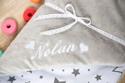 Grey stars blanket, gift for baby shower, baby gift, pink minky blanket, personalised gift, personalised blanket, handmade bl