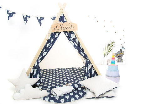 Navy bearsteepee tent playhouse for kids, nursery decor, The best birthday gift,kids tipi tent, kids teepee with play mat,