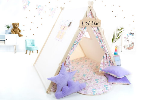 Pink unicorns teepee tent by cuddlesome, kids ttipi with play mat,room decoration, nursery decor, Montessori toy