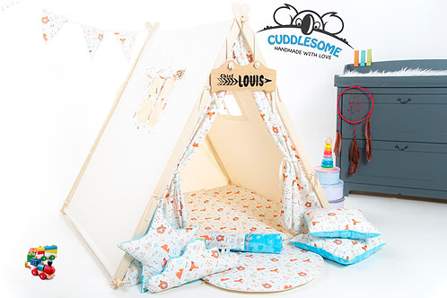 Teepee bears and foxes tent, kids teepee with play mat, wigwam room decoration, boys fort teepe.
