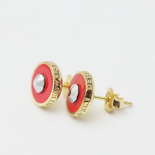 Kolczyki : Pin, malinowe złocone z kryształkiem