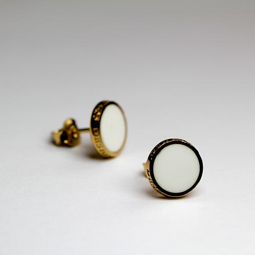 Kolczyki : Pin, białe złocone