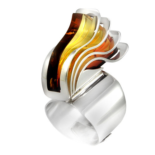 Pierścień : 4Wave z bursztynem