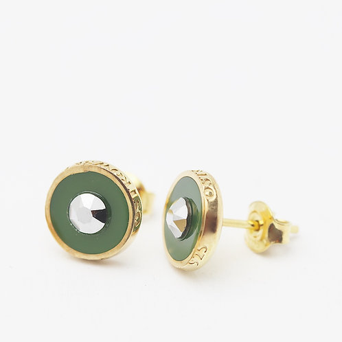Kolczyki : Pin, khaki złocone z kryształkiem