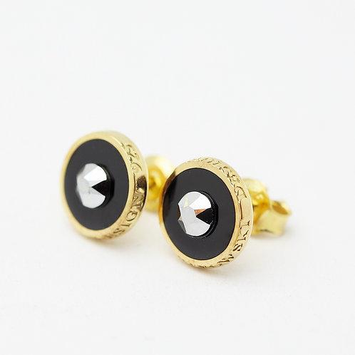 Kolczyki : Pin, czarne złocone z kryształkiem