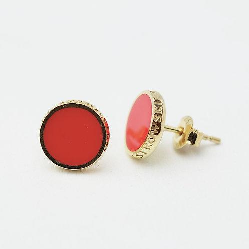 Kolczyki : Pin, malinowe złocone