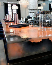 backlit onyx countertop in a business