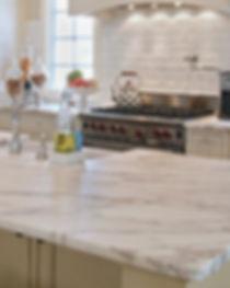 a brown grey quartz countertop in a kitc