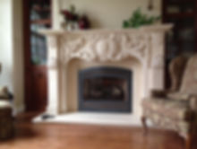 Elegant fireplace mantel in living room - Eash Stoneworks - Rockford IL