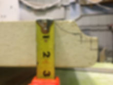 measuring tape showing fireplace mantel measuremet - Eash Stoneworks - Rockford IL