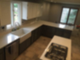 kitchen countertop and island with a white MYST Color Quartz