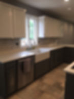 kitchen with a white MYST Color Quartz countertop