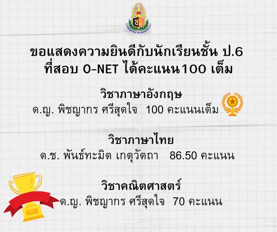 ขอแสดงความยินดีกับนักเรียนชั้น ป.6 ที่สอบ O-NETได้คะแนนเต็ม