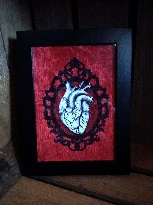 Framed Velvet fabric Art print - Anatomical Heart