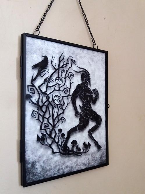 Framed Velvet fabric Art print - Pan on White