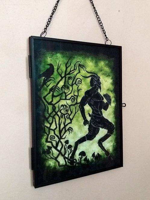 Framed Velvet fabric Art print - Pan - green