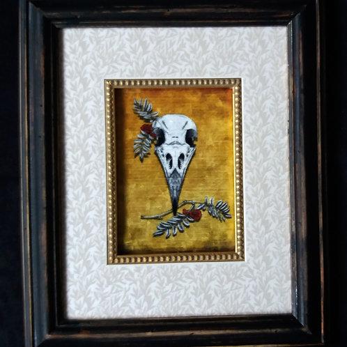 Framed Bayeux Velvet fabric print - Crow Skull - Mustard