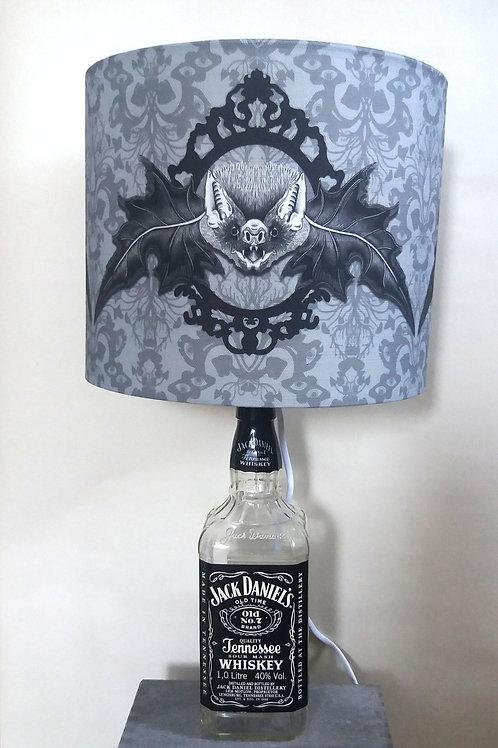 "Bottle lamp with 25cm (10"") Lamp shade - 'Mr. Bat'"