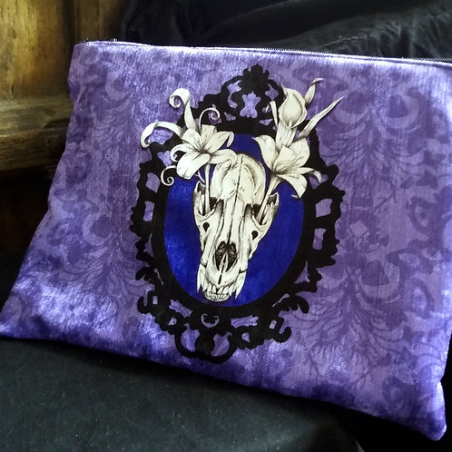 Large Velvet Zip Pouch - Wolf Skull - Purple