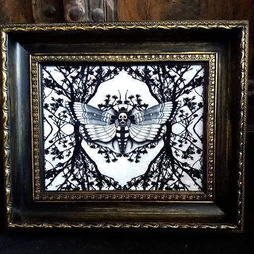 Framed Velvet fabric Art print - Ghost moth - White